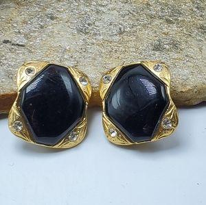 Vtg 70's Clip-On Cabochon Rhinestone Earrings